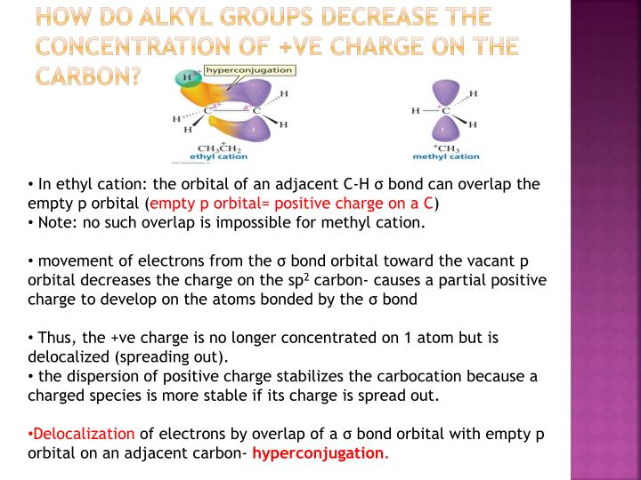 How do alkyl groups decrease the concentration of +