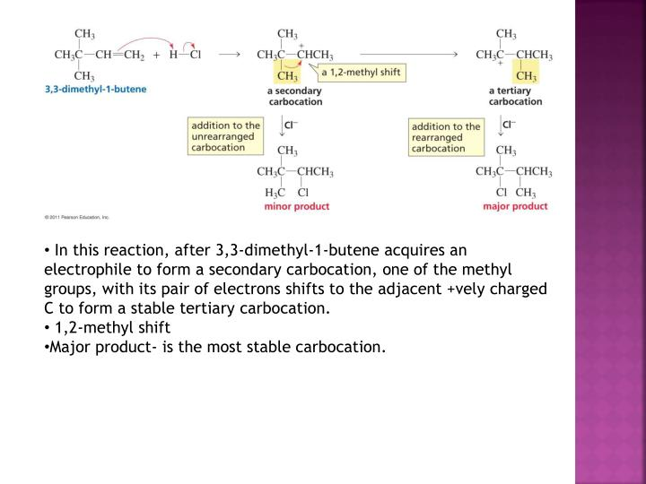 In this reaction, after 3,3-dimethyl-1-butene acquires an