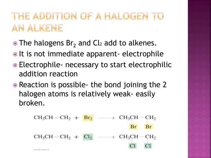 The addition of a halogen to an