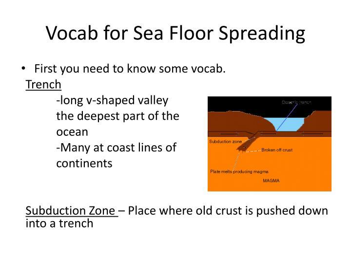 Vocab for Sea Floor Spreading