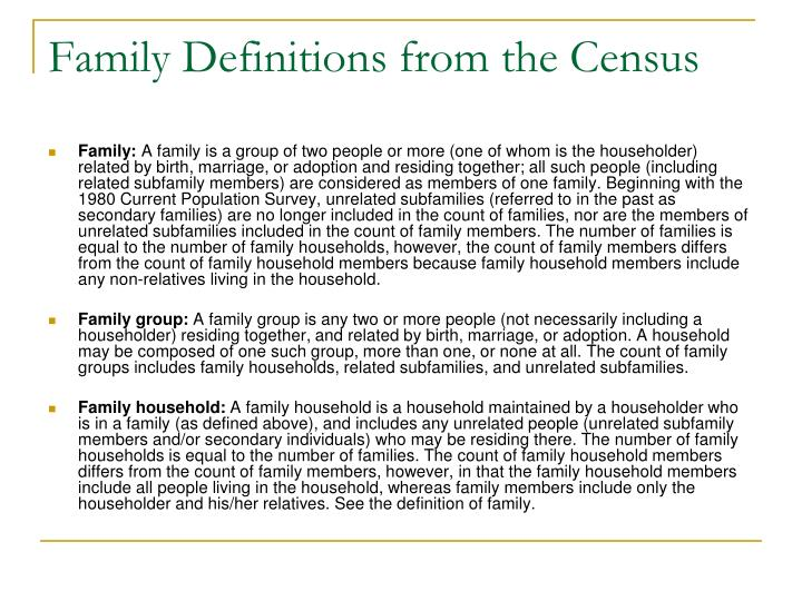 Family definitions from the census
