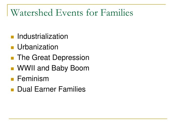 Watershed Events for Families