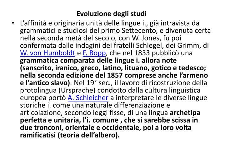 Evoluzione degli studi