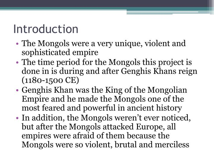 introduction to genghis khan Genghis khan  with a new introduction and bibliography by david o  morgan  english translation, introduction, preface and notes g unesco 1958.