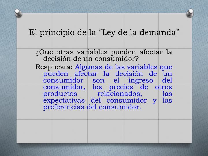 """El principio de la """"Ley de la"""