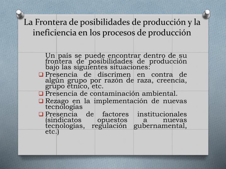 La Frontera de posibilidades de producción y la ineficiencia en los procesos de producción