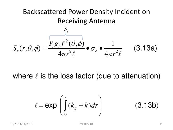 Backscattered Power Density Incident on Receiving Antenna