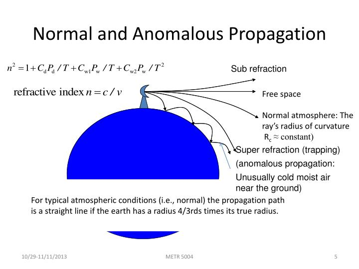 For typical atmospheric conditions (i.e., normal) the propagation path