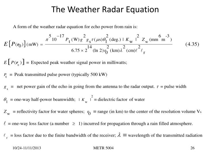 The Weather Radar Equation