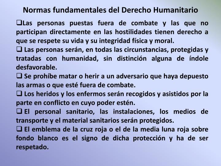 Normas fundamentales del Derecho Humanitario