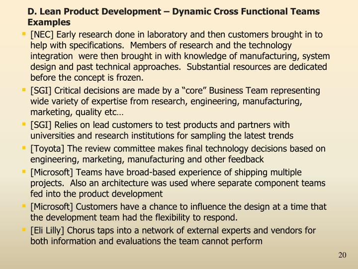 D. Lean Product Development – Dynamic Cross Functional Teams Examples