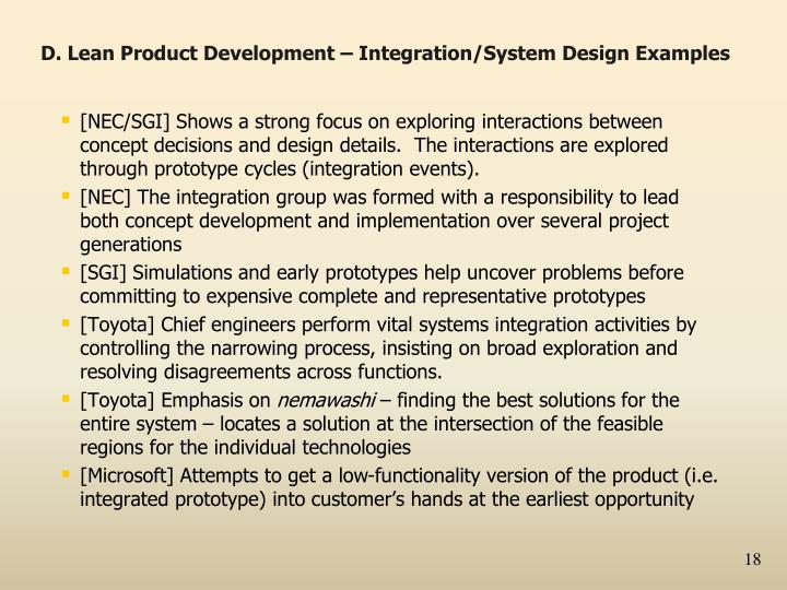 D. Lean Product Development – Integration/System Design Examples