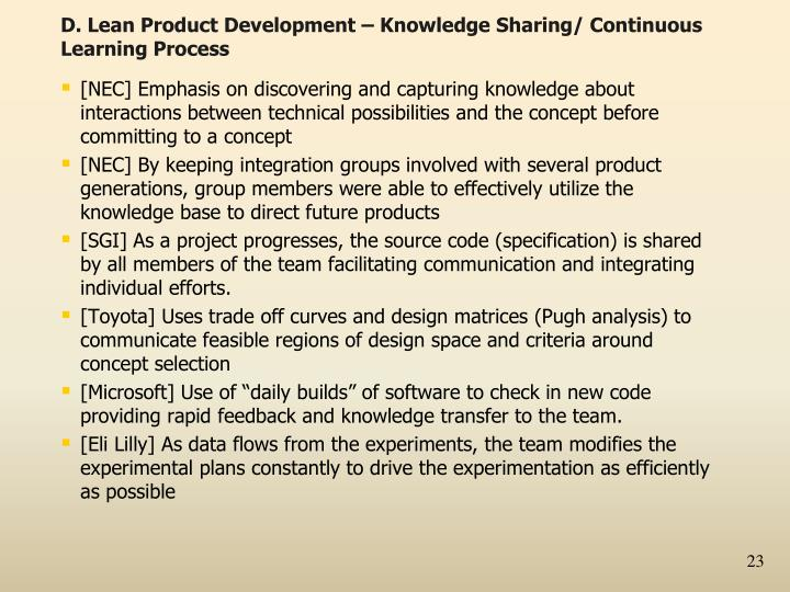 D. Lean Product Development – Knowledge Sharing/ Continuous Learning Process
