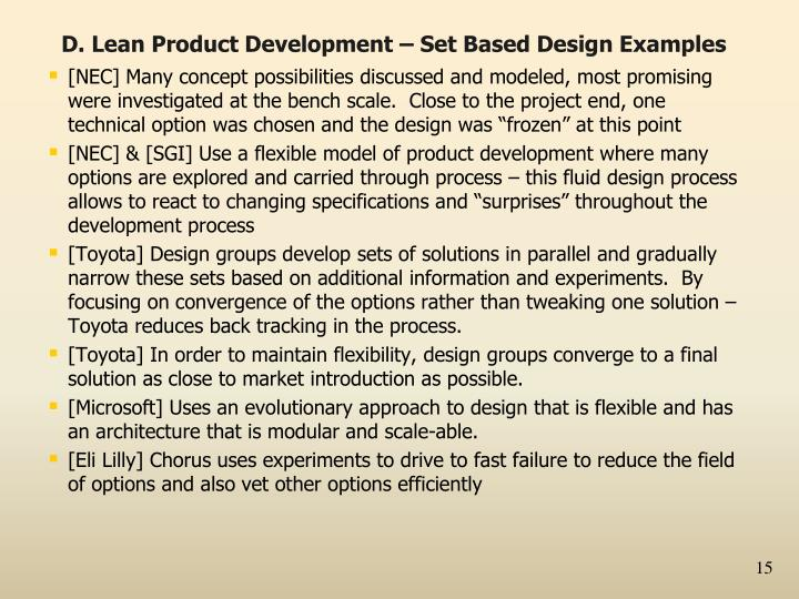D. Lean Product Development – Set Based Design Examples