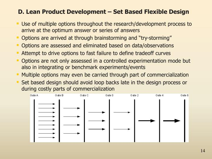 D. Lean Product Development – Set Based Flexible Design