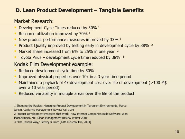 D. Lean Product Development – Tangible Benefits