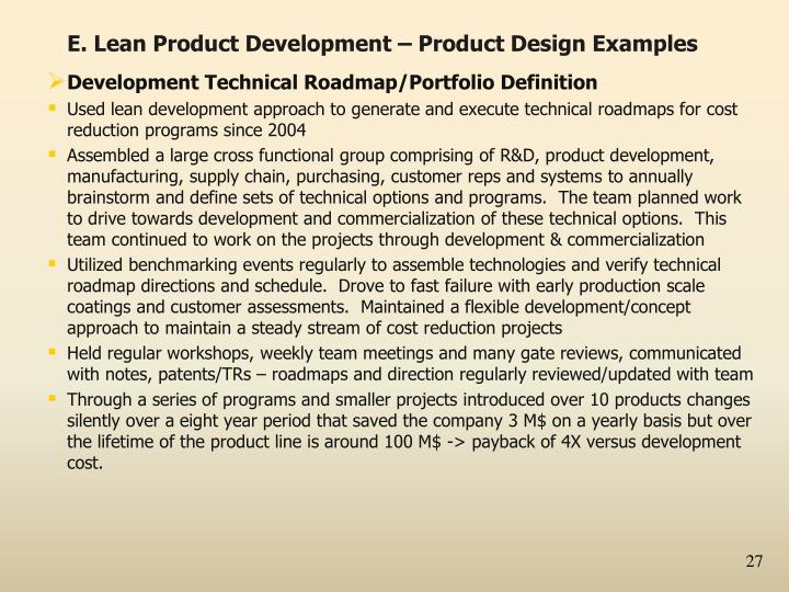 E. Lean Product Development – Product Design Examples