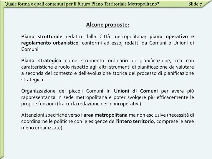 Quale forma e quali contenuti per il futuro Piano Territoriale Metropolitano?