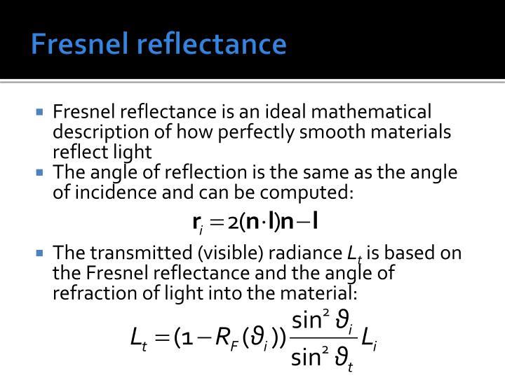 Fresnel reflectance