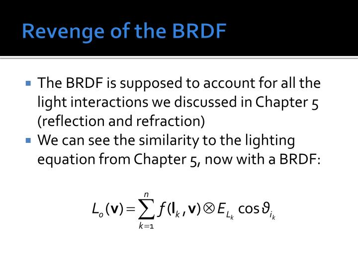 Revenge of the BRDF