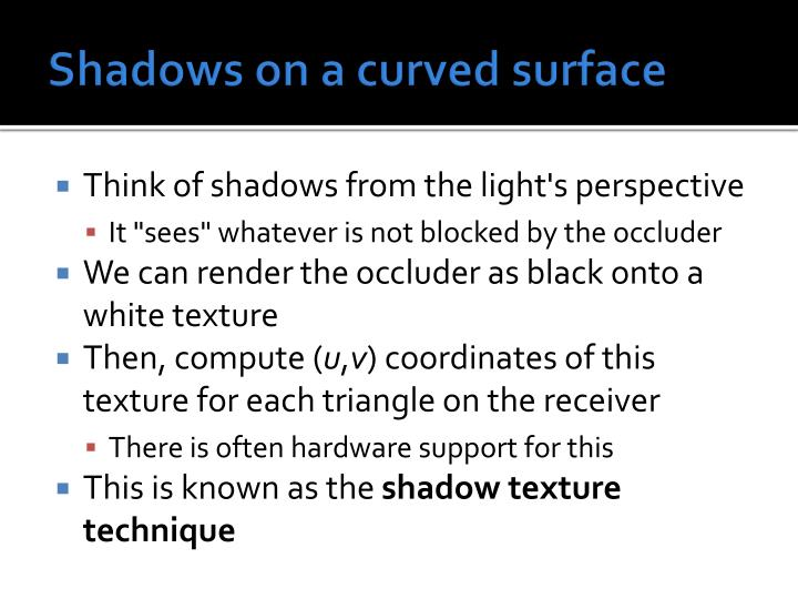 Shadows on a curved surface
