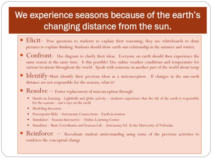 We experience seasons because of the earth s changing distance from the sun