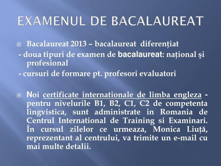 EXAMENUL DE BACALAUREAT