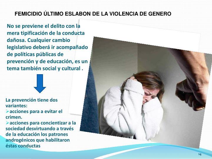 FEMICIDIO ÚLTIMO ESLABON DE LA VIOLENCIA DE GENERO