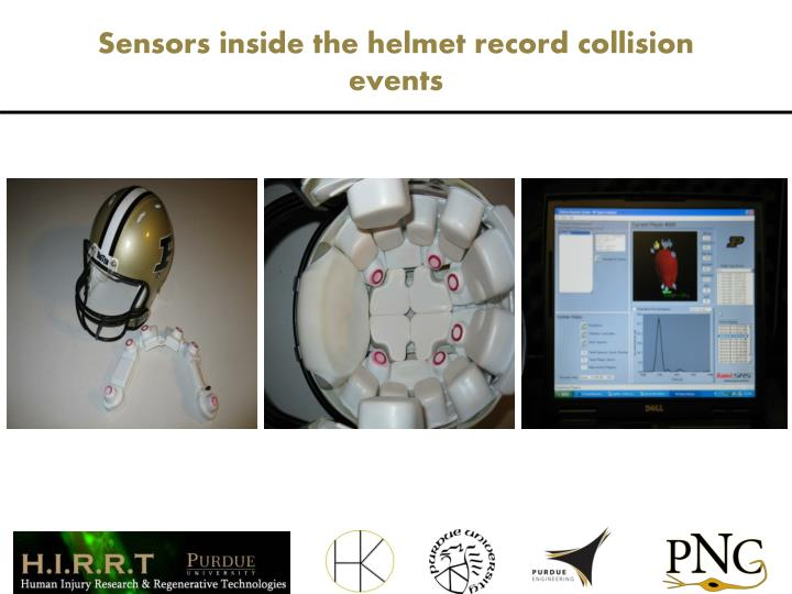 Sensors inside the helmet record collision events