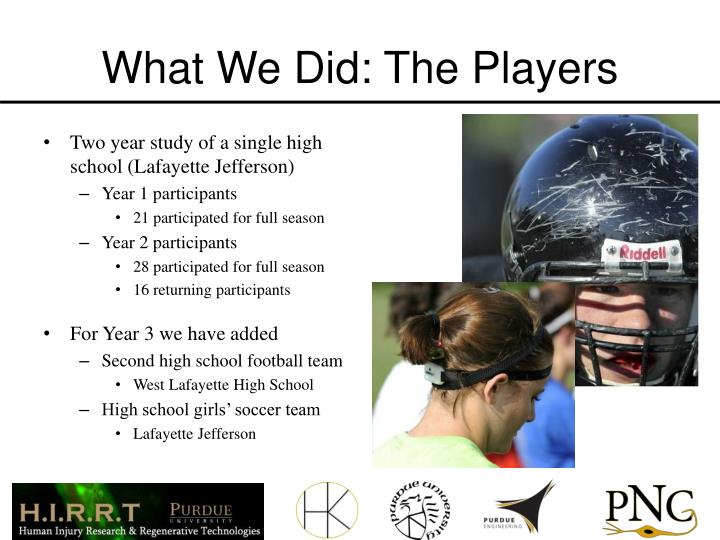 What We Did: The Players