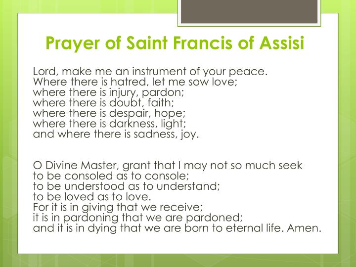 Prayer of Saint Francis of