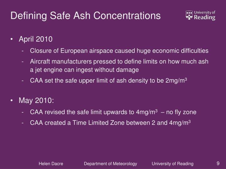 Defining Safe Ash Concentrations