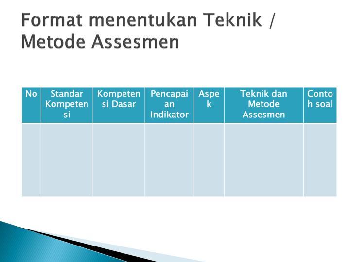 Format menentukan Teknik / Metode Assesmen