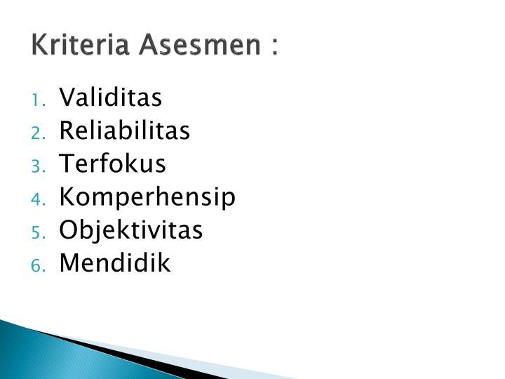 Kriteria Asesmen :