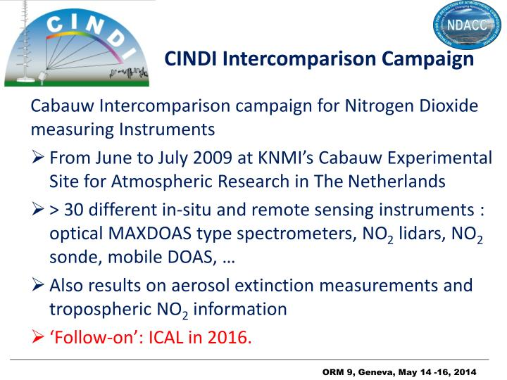 CINDI Intercomparison