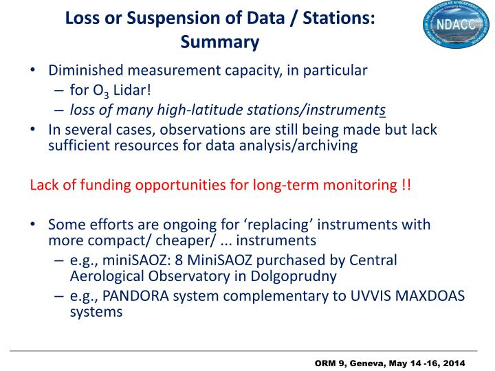 Loss or suspension of d ata stations summary