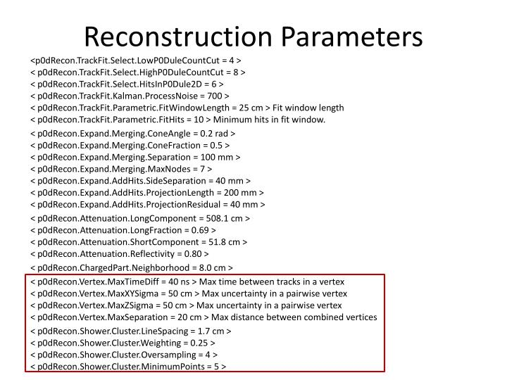 Reconstruction Parameters