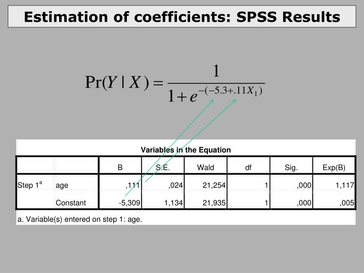 Estimation of coefficients: SPSS Results