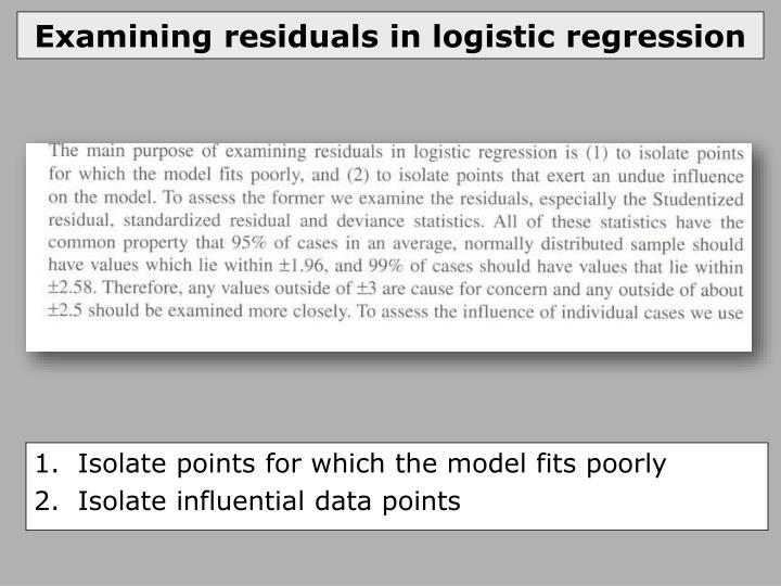 Examining residuals in