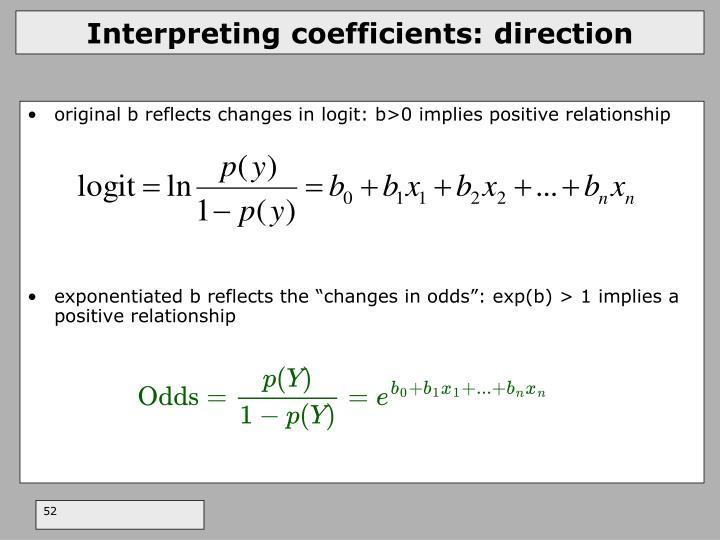 Interpreting coefficients: direction