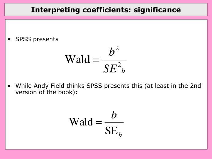 Interpreting coefficients: significance