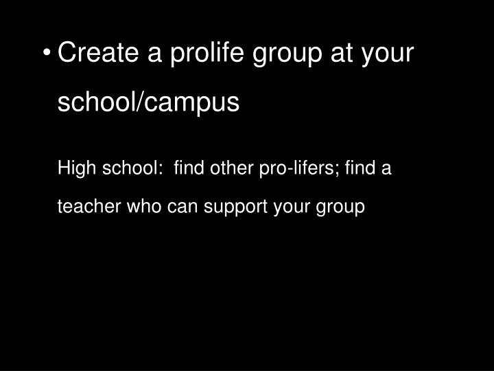 Create a prolife group at your school/campus