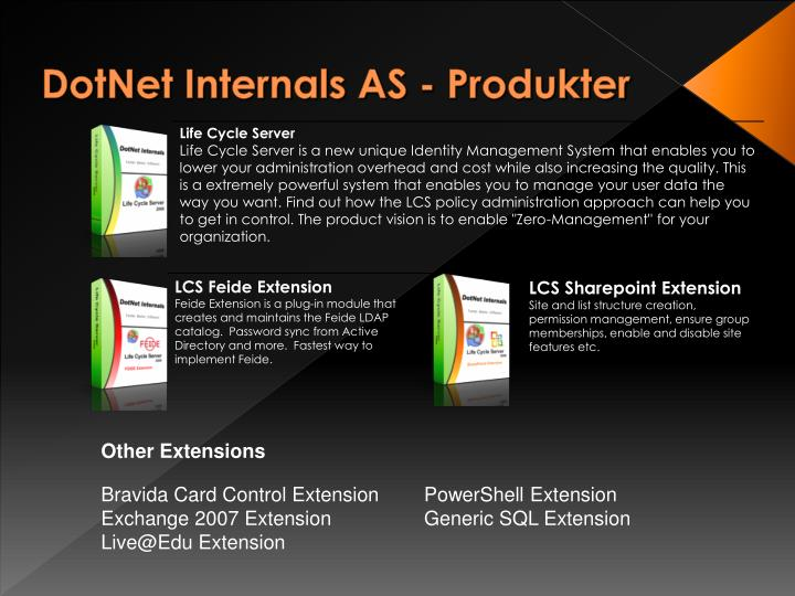 Dotnet internals as produkter
