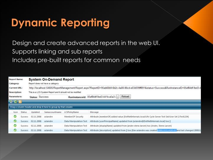 Dynamic Reporting