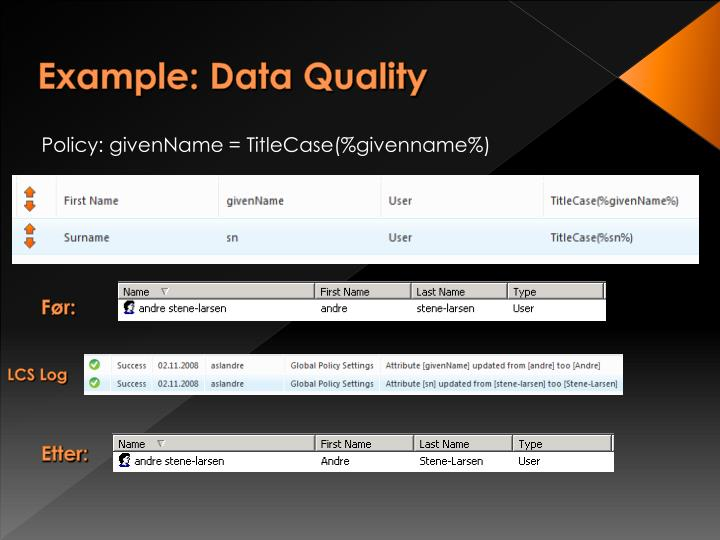 Example: Data Quality