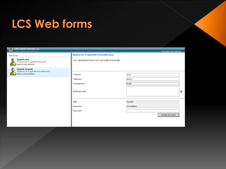 LCS Web forms