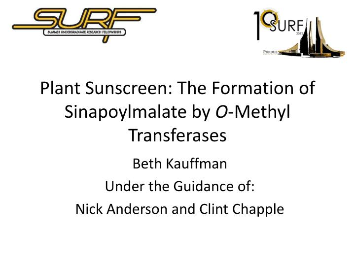 Plant sunscreen the formation of sinapoylmalate by o methyl transferases