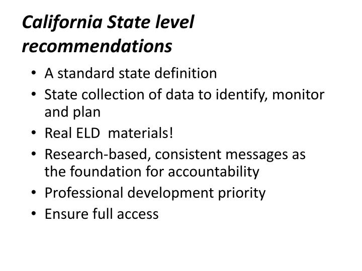 California State level recommendations