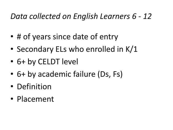 Data collected on English Learners 6 - 12