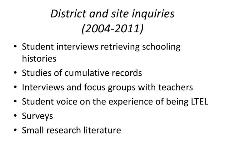 District and site inquiries
